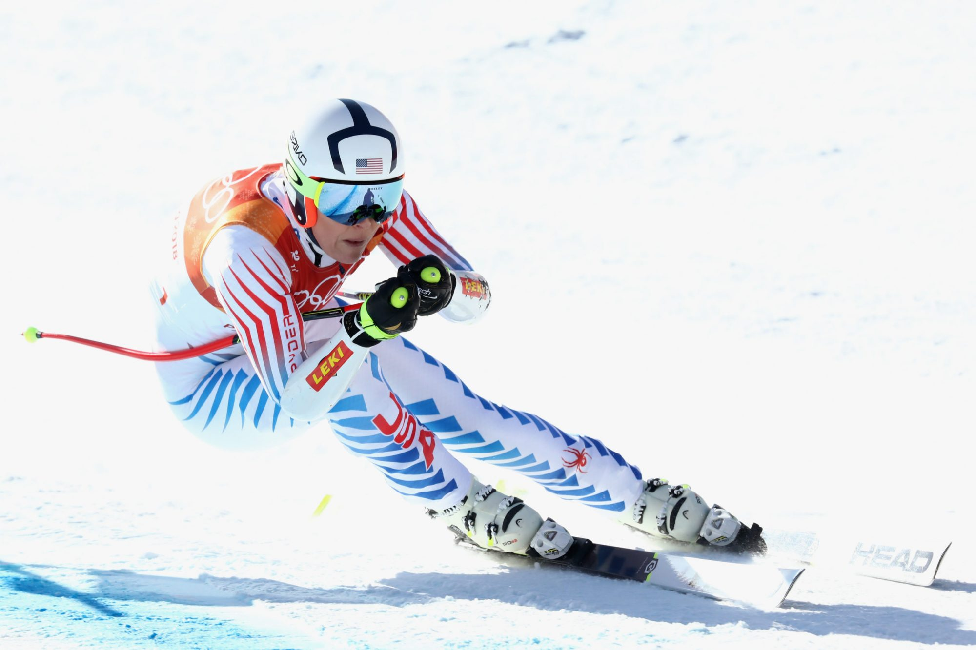Photo of Lindsey Vonn Competing in the Alpine Skiing Ladies Super-G at the 2018 Winter Olympics