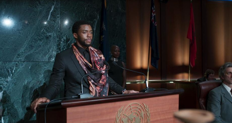 "Photo of Chadwick Boseman as T'Challa in ""Black Panther"""