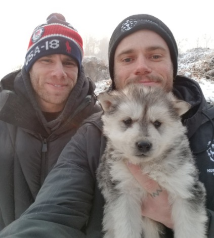 Photo of Gus Kenworthy and Matt Wilkas With Adopted Puppy from Korean Dog Farm