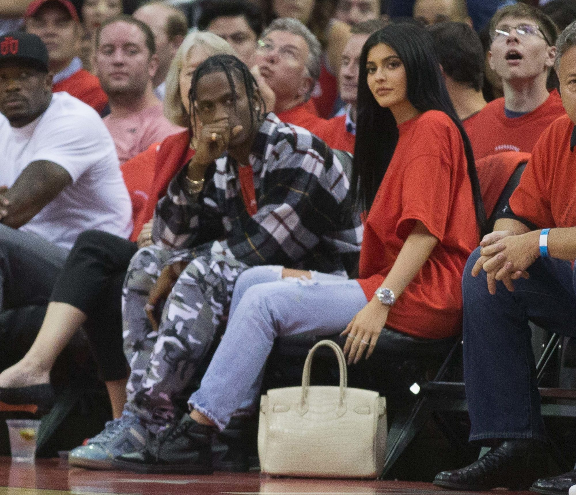 Photo of Kylie Jenner and Travis Scott at a 2017 NBA Playoff Game