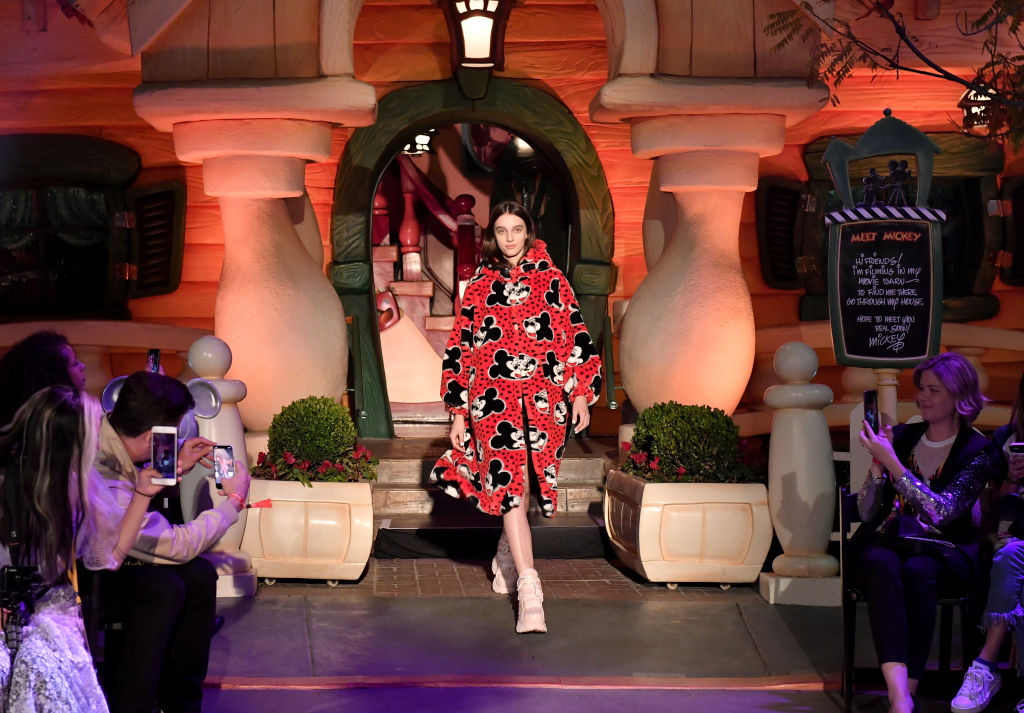 """ANAHEIM, CA - MARCH 07: Disney kicks off """"Mickey the True Original"""" campaign in celebration of Mickey's 90th anniversary with a fashion show featuring a Mickey-inspired collection by Opening Ceremony at Disneyland on March 7, 2018 in Anaheim, California."""