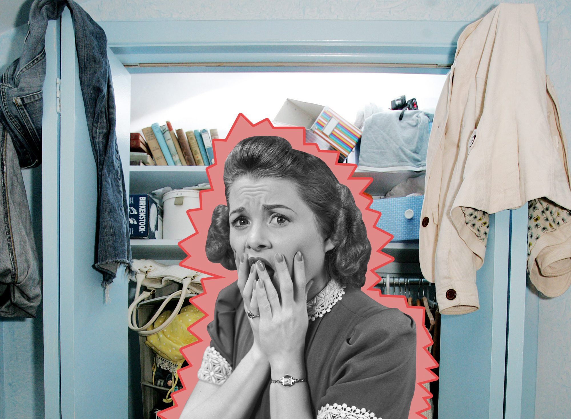 Shocked woman in front of messy closet