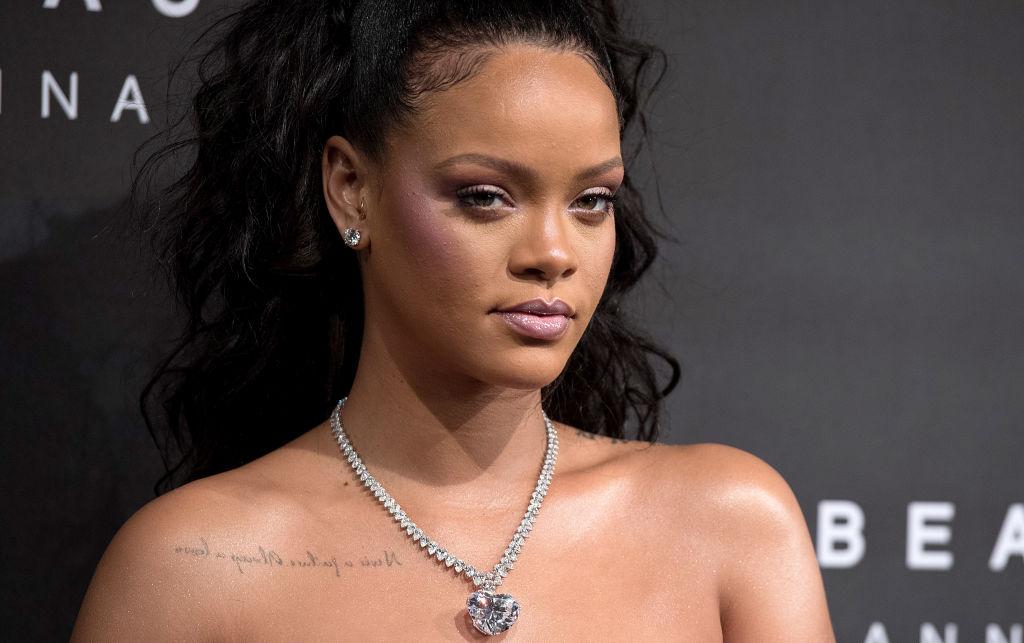LONDON, ENGLAND - SEPTEMBER 19: Rihanna attends the 'FENTY Beauty' by Rihanna launch at Harvey Nichols Knightsbridge on September 19, 2017 in London, England