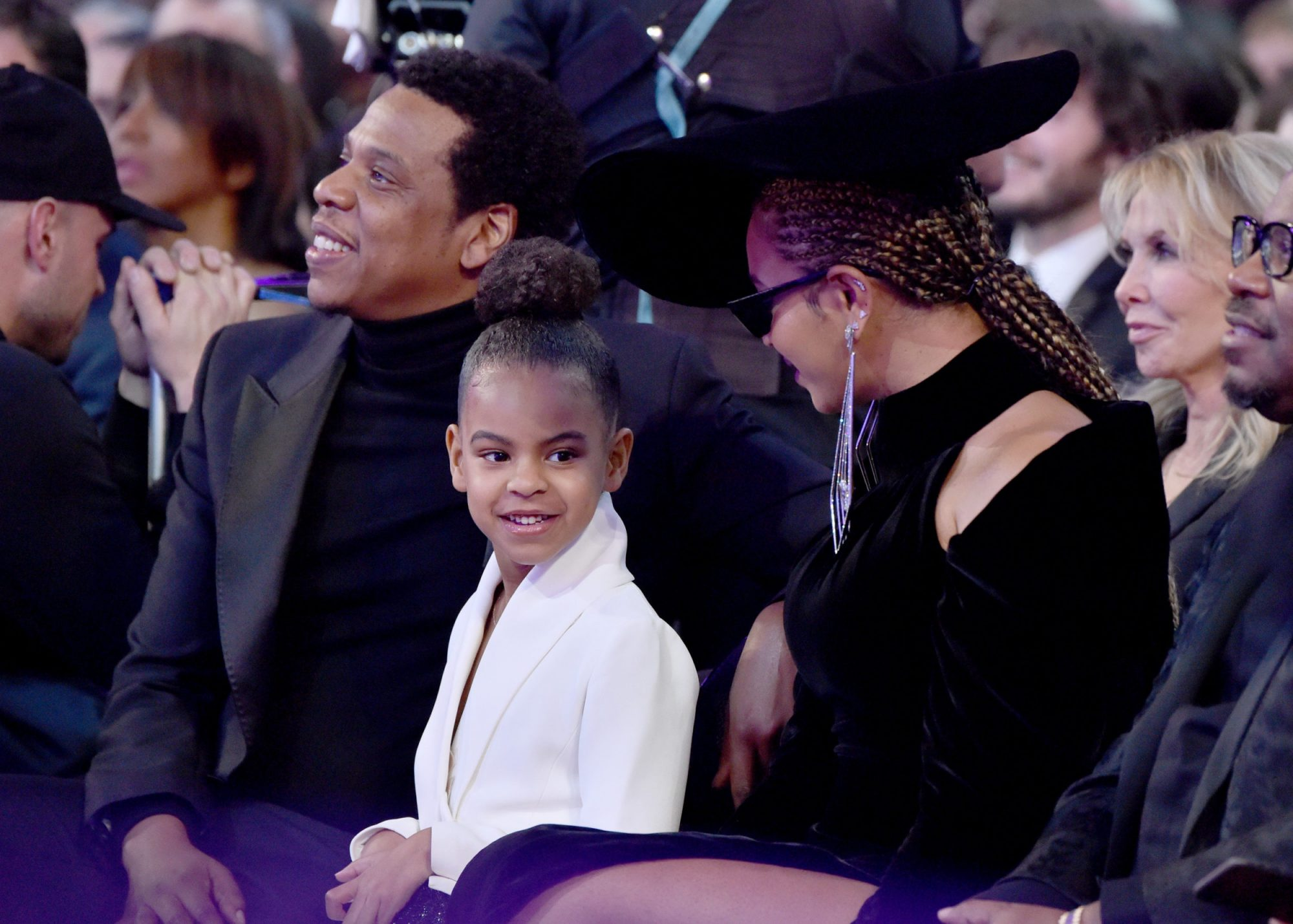 Photo of Blue Ivy, Beyoncé, and Jay-Z at the 60th Annual Grammy Awards