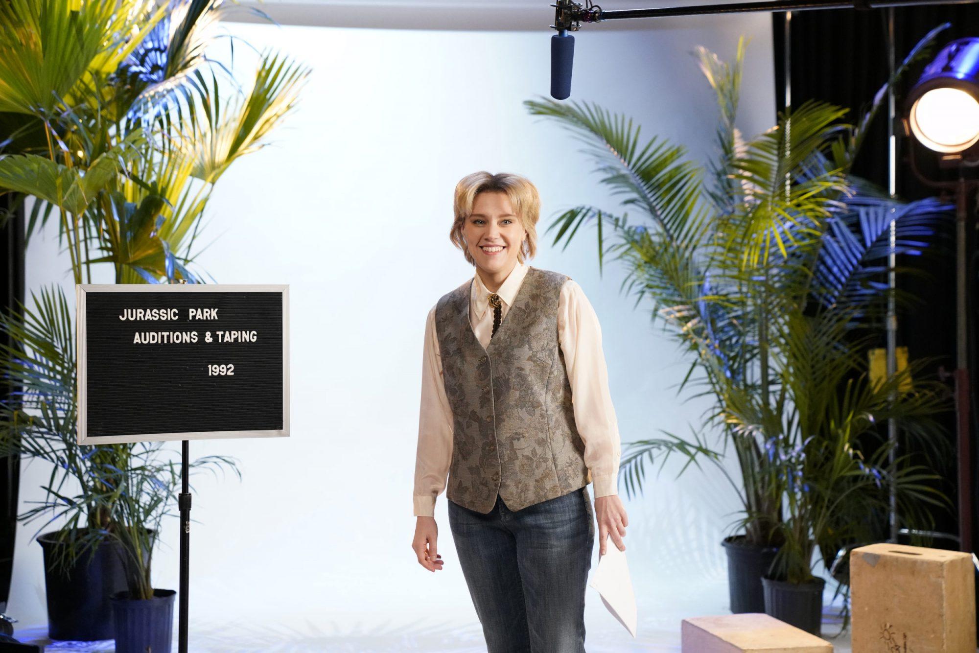Photo of Kate McKinnon as Ellen DeGeneres During SNL Jurassic Park Auditions