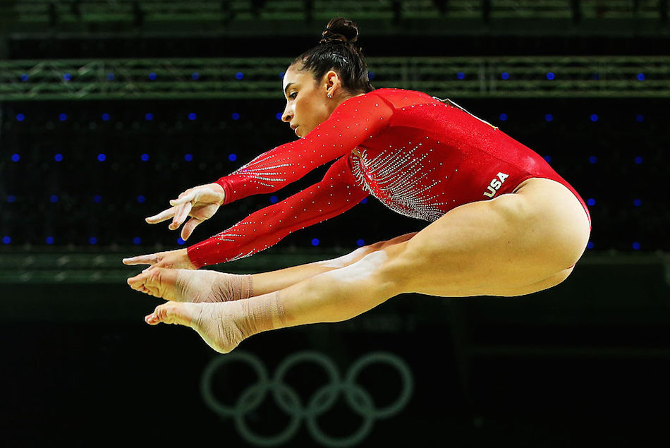 Alexandra Raisman of the United States competes on the balance beam during the Women's Individual All Around Final on Day 6 of the 2016 Rio Olympics at Rio Olympic Arena on August 11, 2016 in Rio de Janeiro, Brazil.