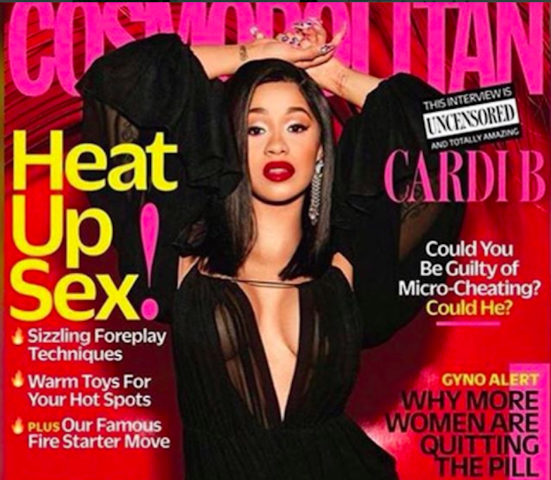 Cosmopolitan magazine cover with Cardi B