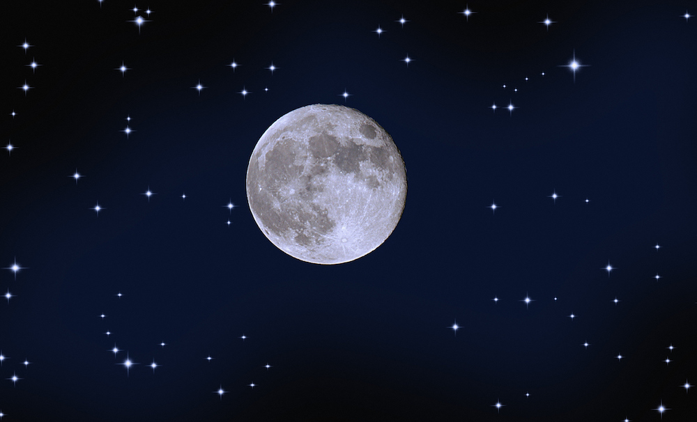 The moon surrounded by 20 of the Constellations.