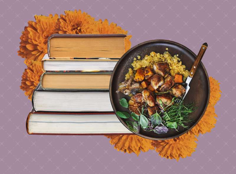 Books and foods illustration