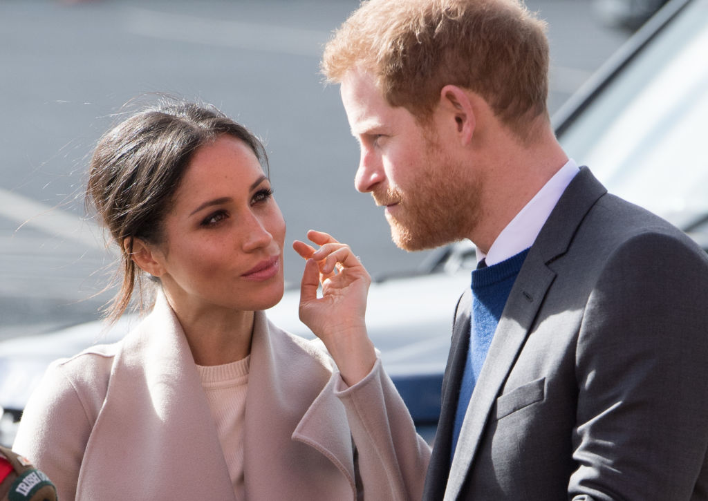 BELFAST, UNITED KINGDOM - MARCH 23: Prince Harry and Meghan Markle attend an event to mark the second year of youth-led peace-building initiative Amazing the Space at the Eikon Exhibition Centre on March 23, 2018 in Lisburn, Northern Ireland.