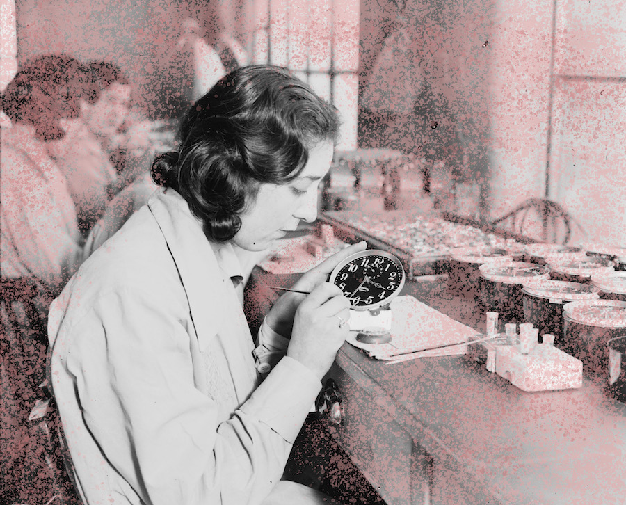 Women (Radium Girls) painting alarm clock faces, Ingersoll factory, January 1932.