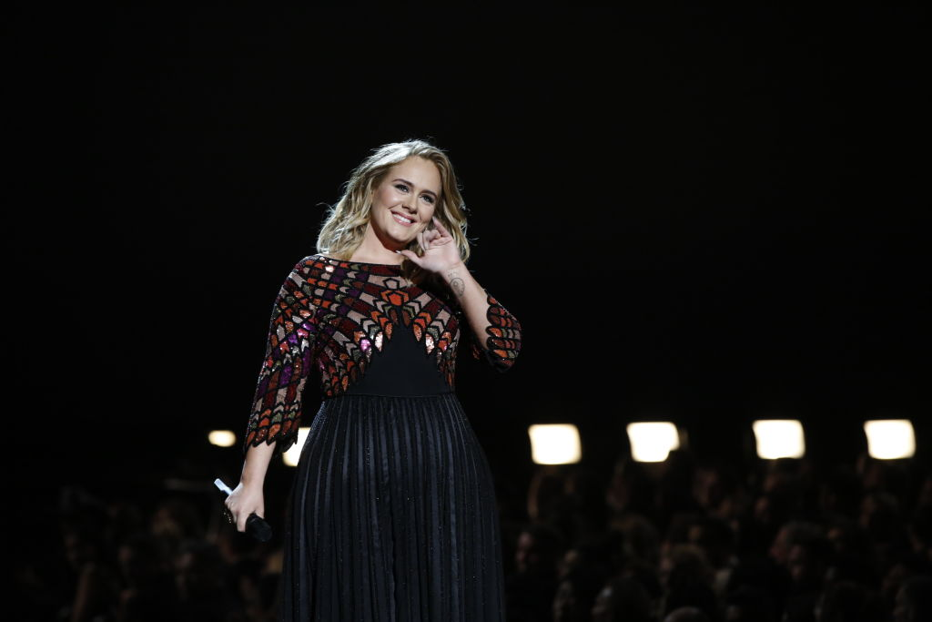LOS ANGELES - FEBRUARY 12: Adele performs during THE 59TH ANNUAL GRAMMY AWARDS, broadcast live from the STAPLES Center in Los Angeles, Sunday, Feb. 12 (8:00-11:30 PM, live ET/5:00-8:30 PM, live PT; 6:00-9:30 PM, live MT) on the CBS Television Network.
