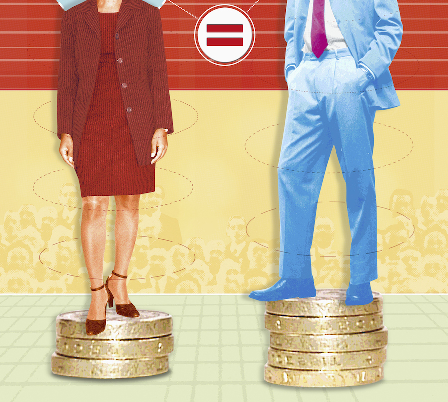 Unequal businesman and businesswoman