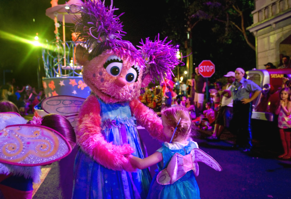 LANGHORNE, PA - AUGUST 4: Abby Cadabby finds a look-alike to dance with along the parade route at Sesame Place Thursday, Aug.4, 2011 in Langhorne, PA.