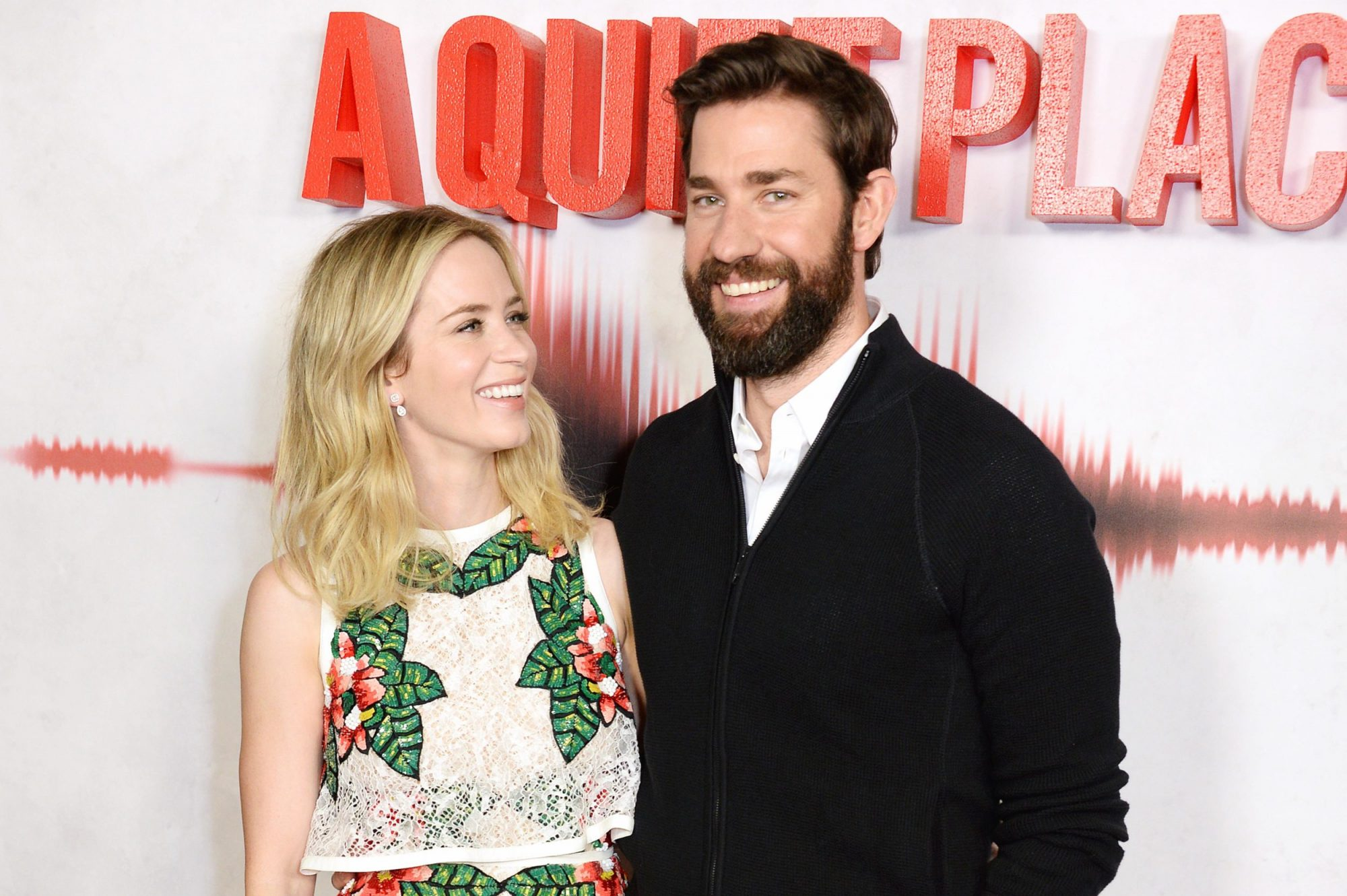 """Photo of Emily Blunt and John Krasinski at the London Premiere of """"A Quiet Place"""""""