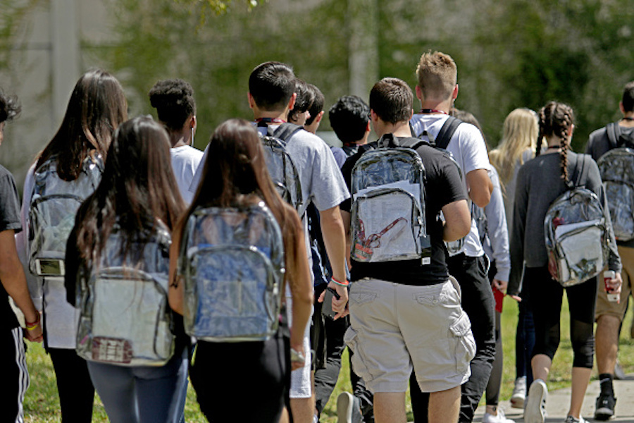Students wearing clear backpacks at Marjory Stoneman Douglas High School