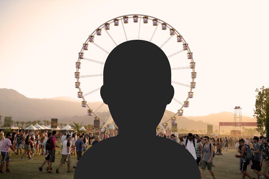 Coachella festival grounds and silhoutte