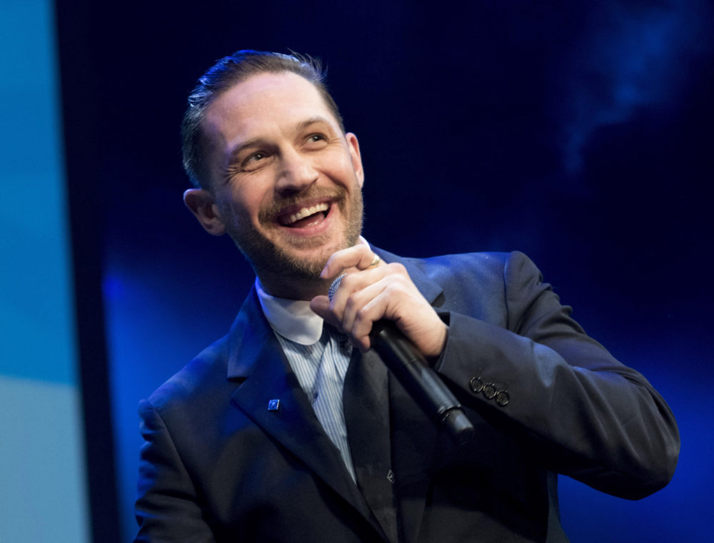 LONDON, ENGLAND - MARCH 6: Tom Hardy on stage at The Prince's Trust Awards at The London Palladium on March 6, 2018 in London, England.