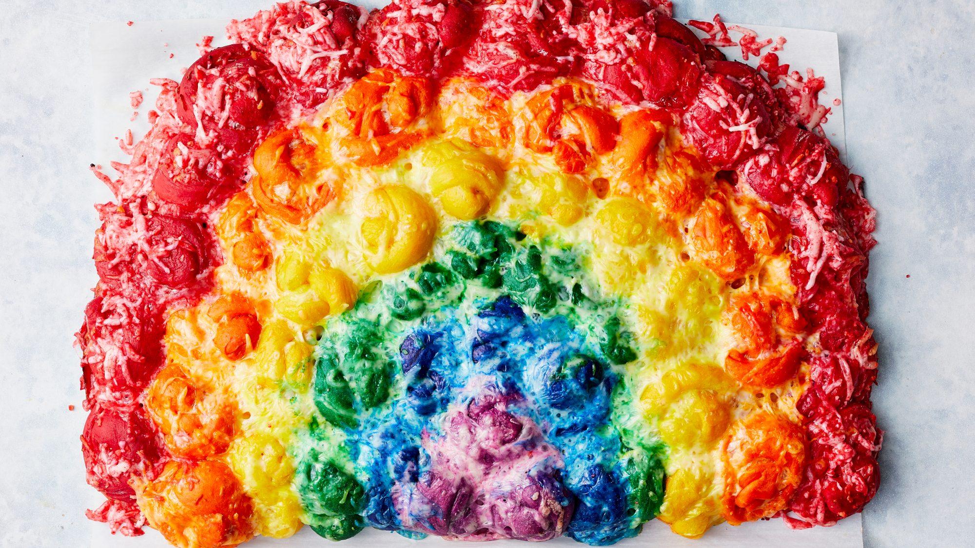 Cheesy Rainbow Pull-Apart Bread