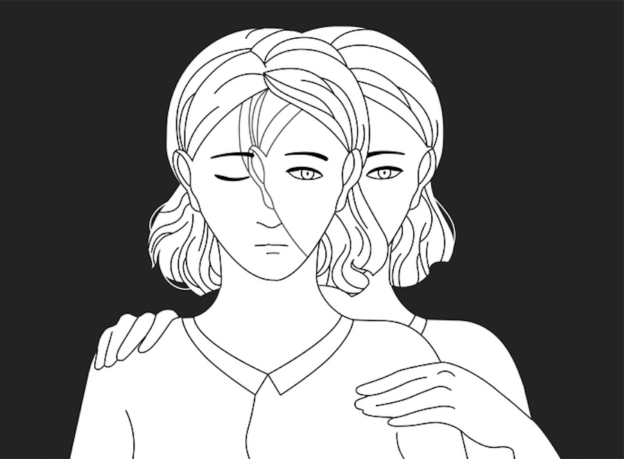 Black and white illustration of a woman holding herself