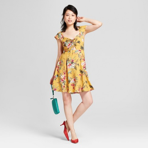 SHORT-SLEEVED-RUCHED-FLORAL-DRESS-YELLOW.png