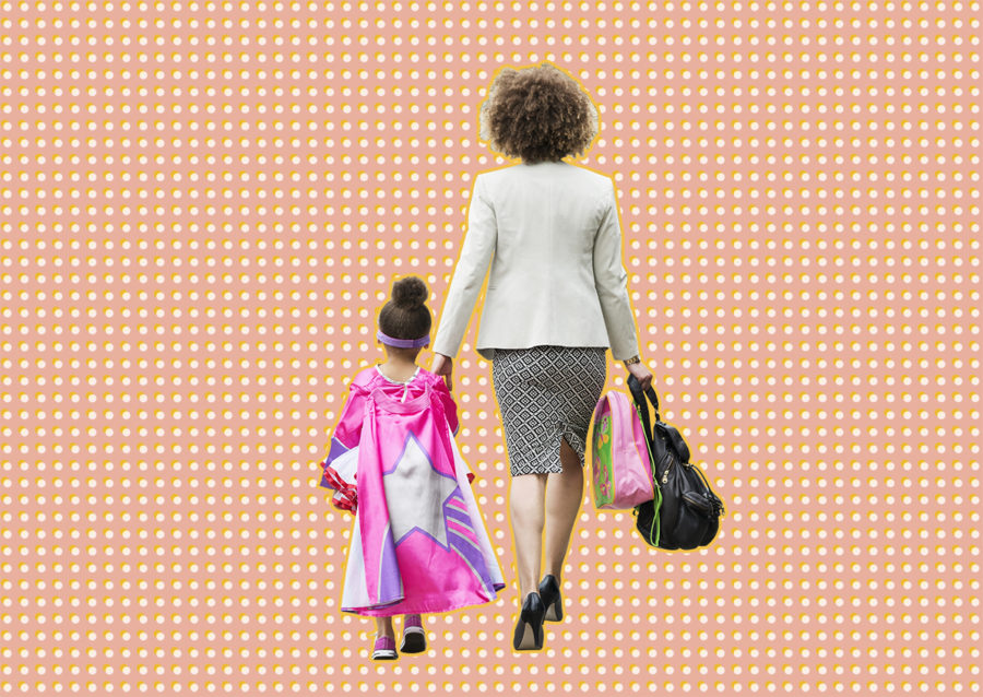Working mother walking with her daughter