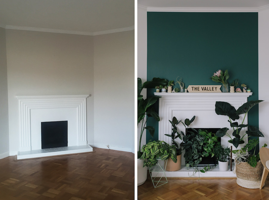 Split screen of a San Francisco bungalow living room before and after new paint