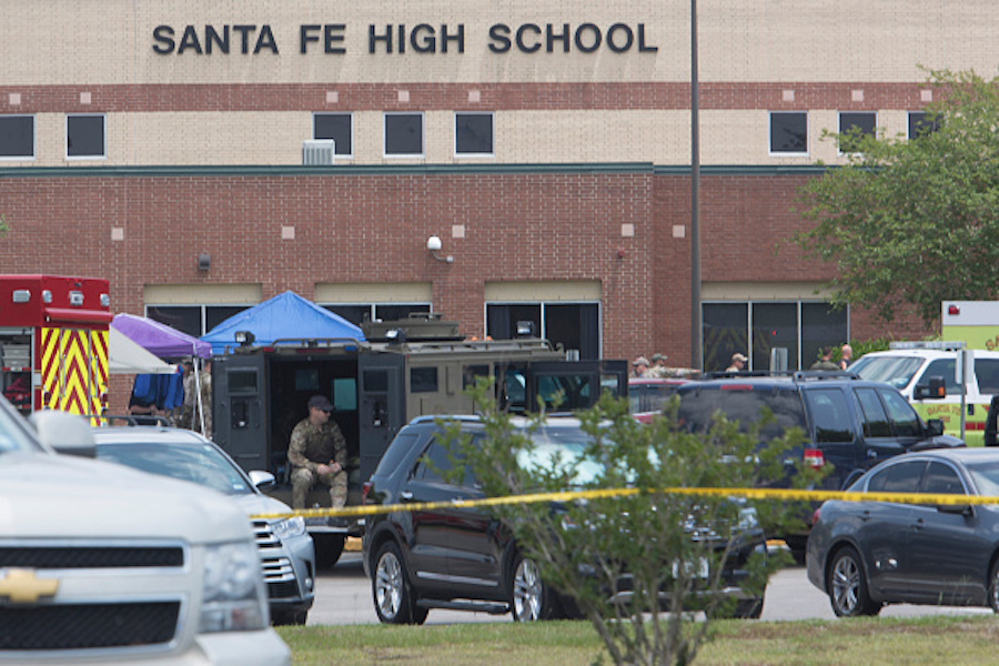 Emergency crews at Santa Fe High School in Texas following school shooting