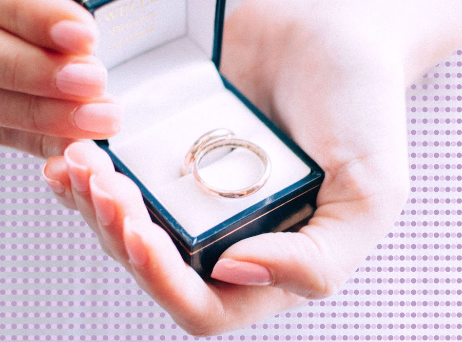 Woman holding an engagement ring box