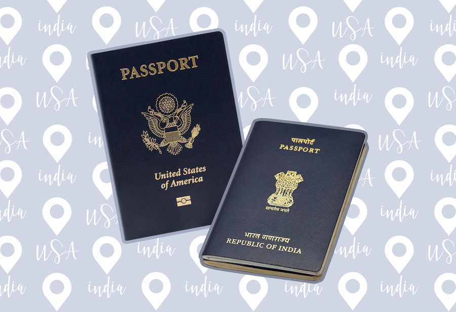 Indian and American passports