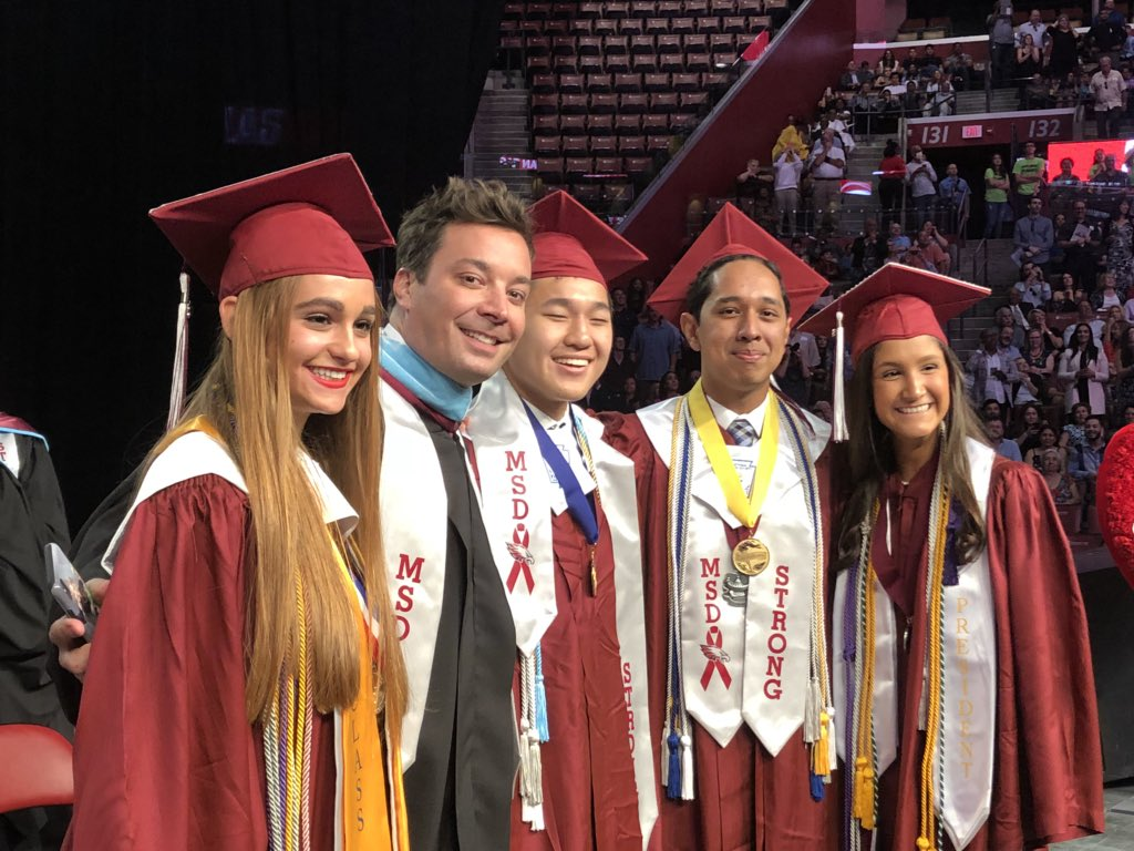 Image of Jimmy Fallon at the MSD graduation