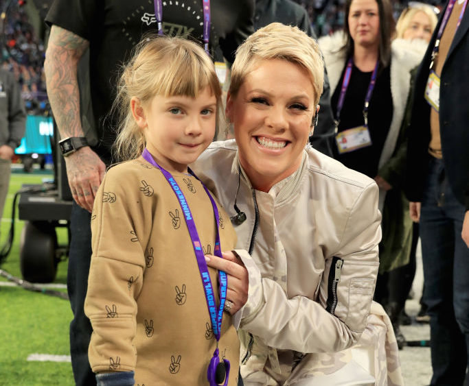 Recording artist Pink with daughter