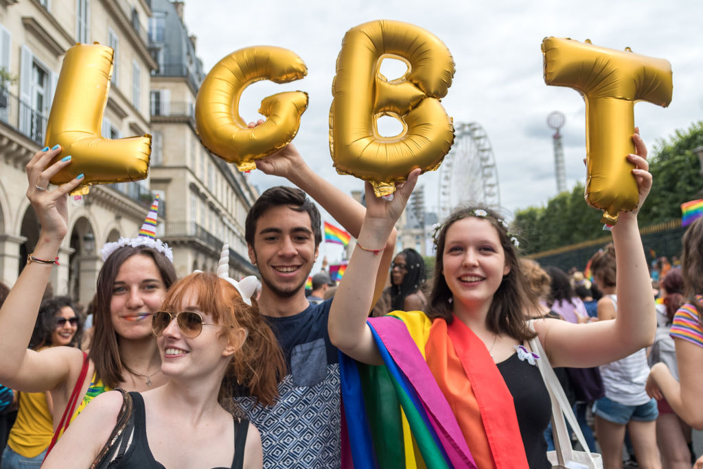 PARIS, FRANCE - JUNE 24: People gather for LGBT priests march to celebrate its 40th anniversary at the squares of Concorde and the Republic with one slogan: MAP for all (Medically assisted procreation), on June 24, 2017 in Paris, France. PHOTOGRAPH BY Julien Mattia / Le Pictorium / Barcroft Images London-T:+44 207 033 1031 E:hello@barcroftmedia.com - New York-T:+1 212 796 2458 E:hello@barcroftusa.com - New Delhi-T:+91 11 4053 2429 E:hello@barcroftindia.com www.barcroftimages.com (Photo credit should read Julien/Le Pictorium/Barcroft / Barcroft Media via Getty Images)