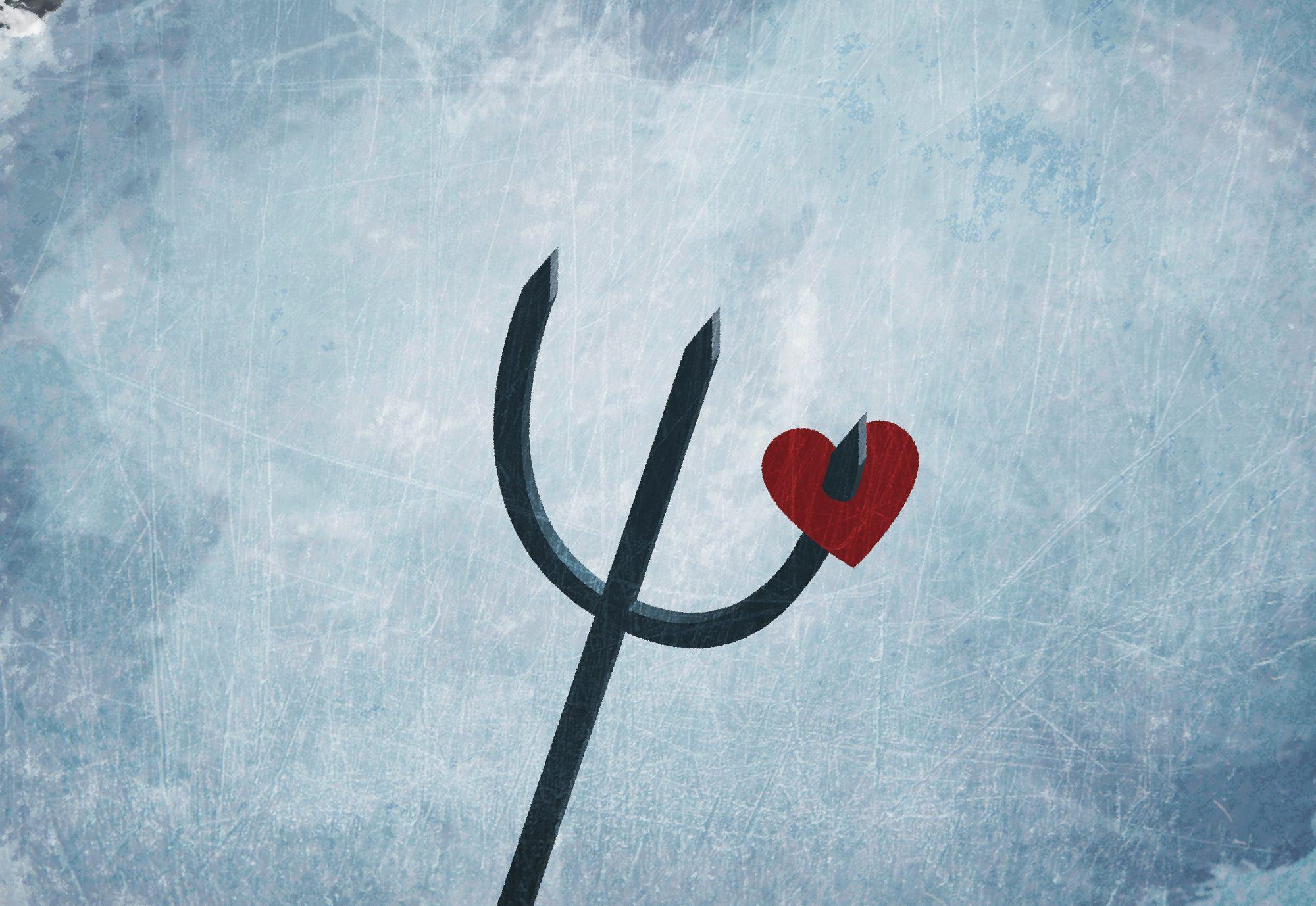 A heart on a pitchfork