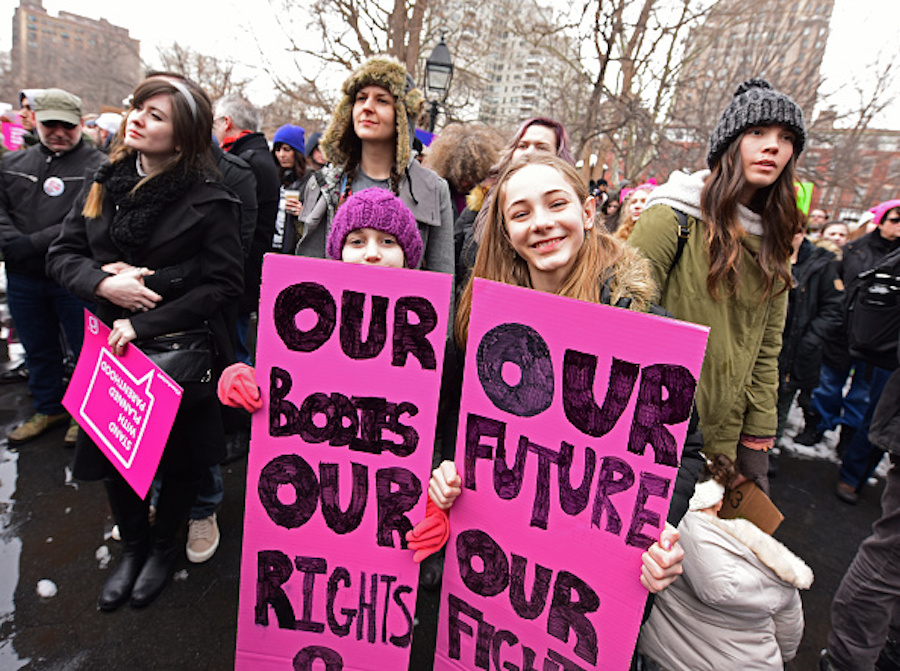 Girls at pro-choice rally in Manhattan