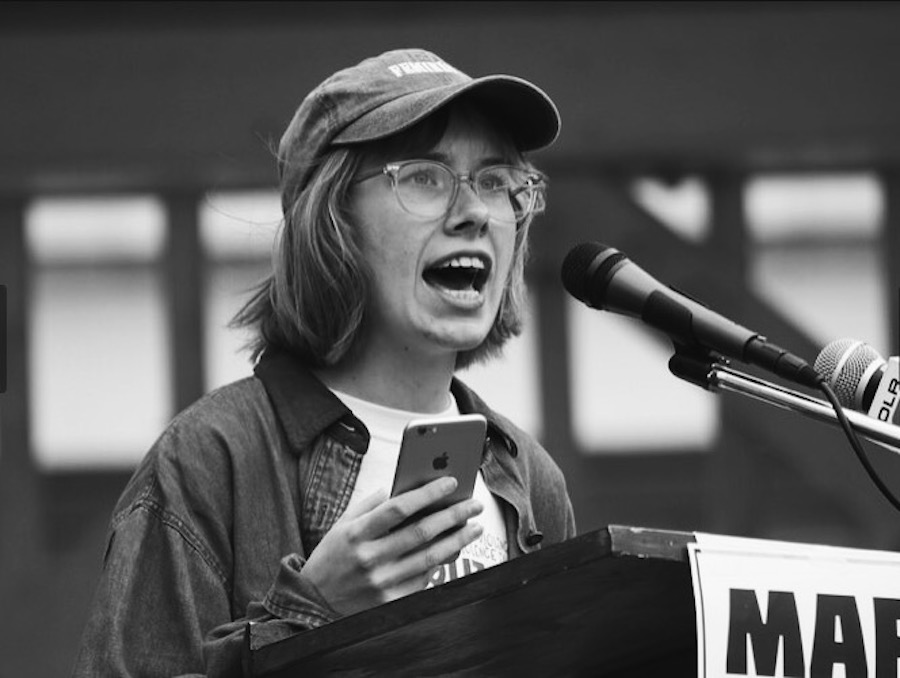 Hannah Brashers at her city's March For Our Lives