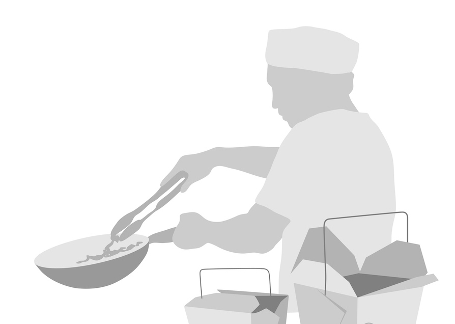 Illustration of chef at a Chinese restaurant