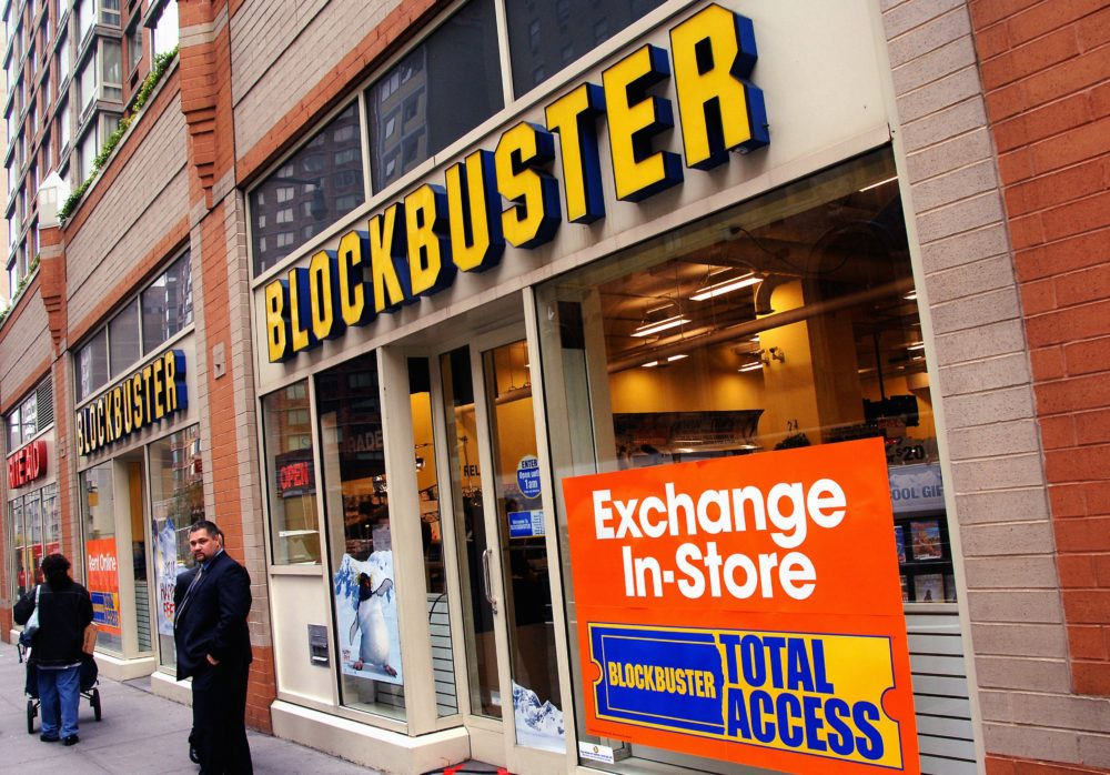 NEW YORK - NOVEMBER 15: General view of the exterior of the Blockbuster store hosting a press conference announcing The Weinstein Company's deal with Blockbuster Inc. for exclusive rights to rent theatrical movies and direct-to-video titles on November 15, 2006 in New York City, New York.