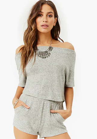Forever-Marled-Knit-Off-Shoulder-Shorts-Set