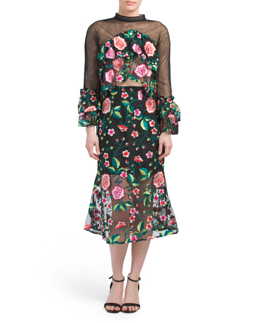 Vone-Rose-Embroidered-Top-Skirt-Set