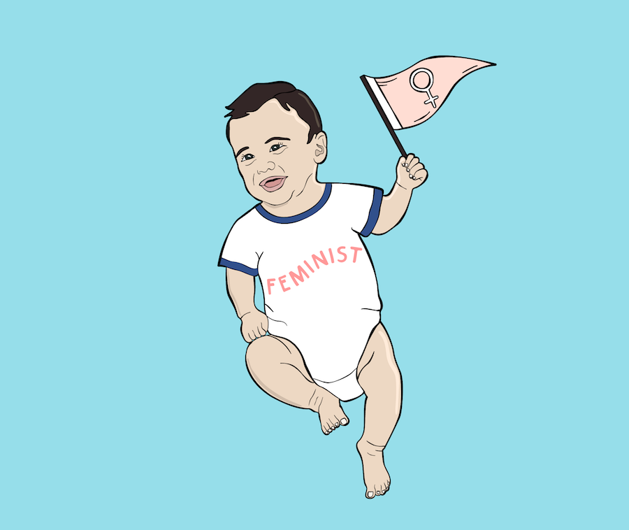 """Illustration of a baby wearing a """"feminist"""" onesie"""