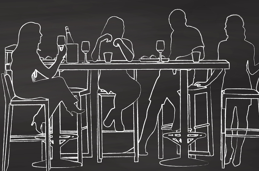 Illustration of friends in a bar