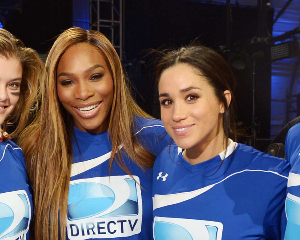 NEW YORK, NY - FEBRUARY 01: (L-R) Hannah Davis, Nina Agdal, Serena Williams, Meghan Markle and Shay Mitchell participate in the DirecTV Beach Bowl at Pier 40 on February 1, 2014 in New York City.
