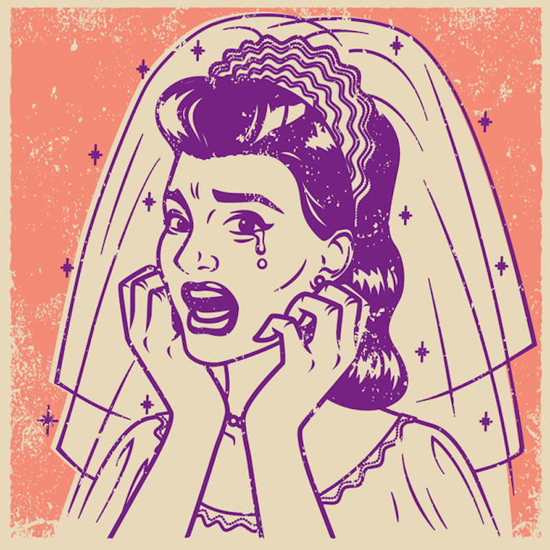 Vintage illustration of a crying woman