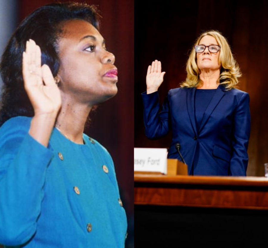 Anita Hill and Christine Blasey Ford testifiying