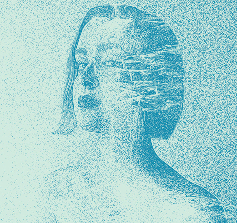 Illustration of woman morphing into waterfall