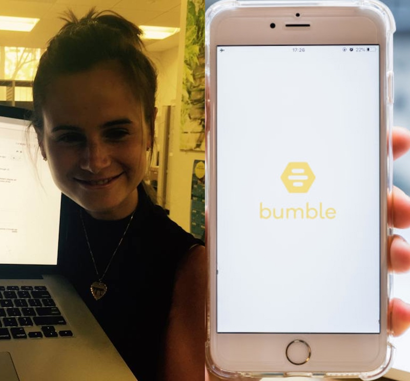 Dr. Jess Carbino and Bumble app splitscreen