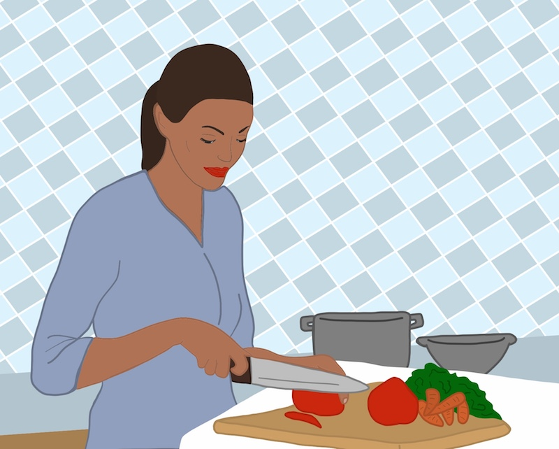 Illustration of woman chopping vegetables