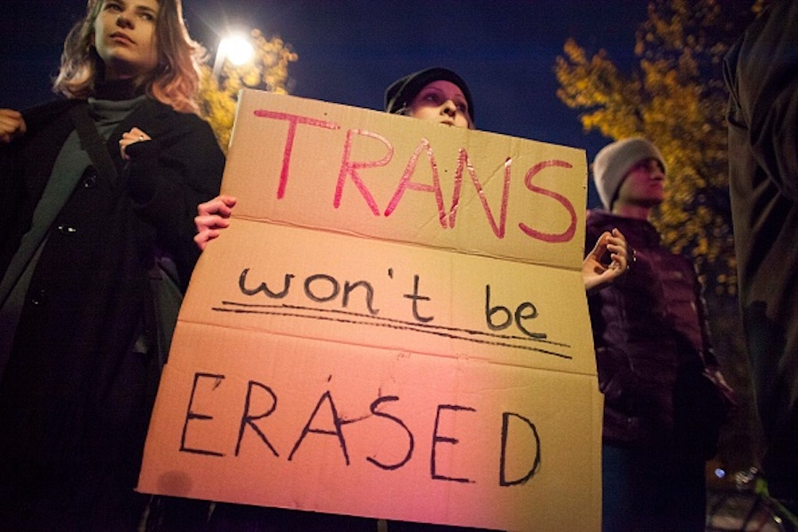 """""""Trans won't be erased"""" banner"""