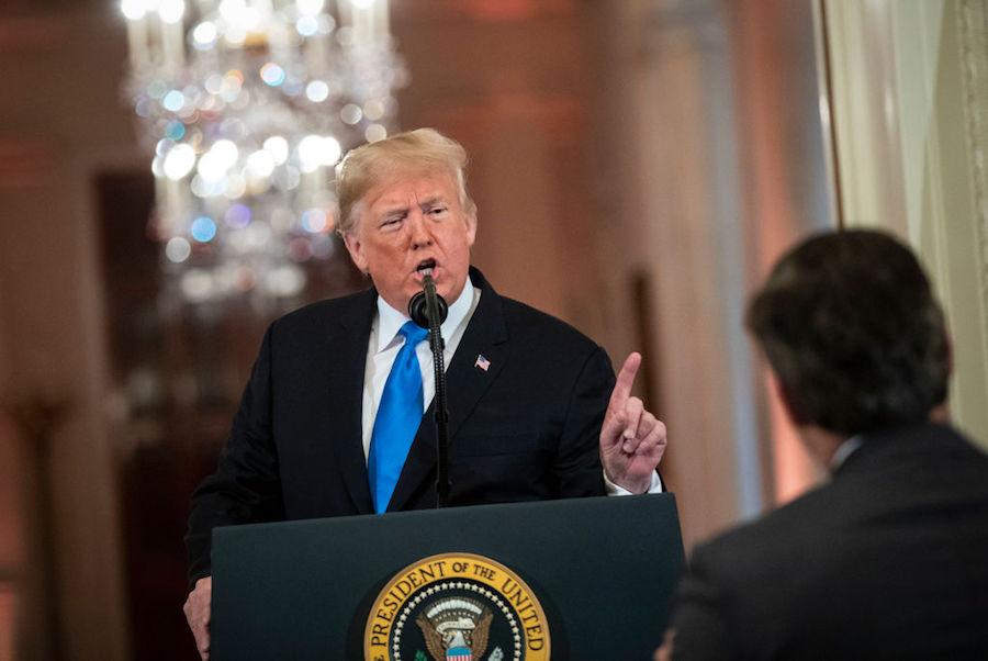 Trump arguing with reporter Jim Acosta